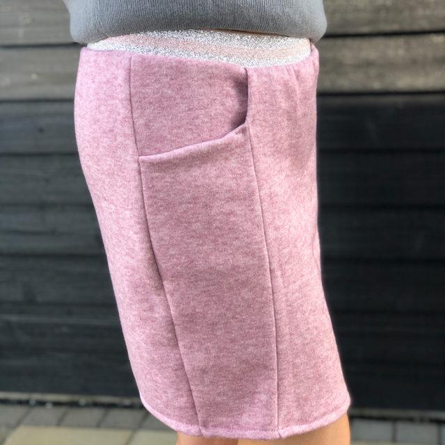 Rock DIVIDED Schnittdeern Strickstoff Kai rosa mit Glitzergummi